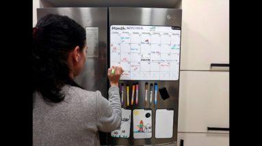"""Magnetic Dry Erase Monthly Calendar for Refrigerator (Full Set: 8 Markers + Eraser) - 17.5"""" x 13.5"""""""